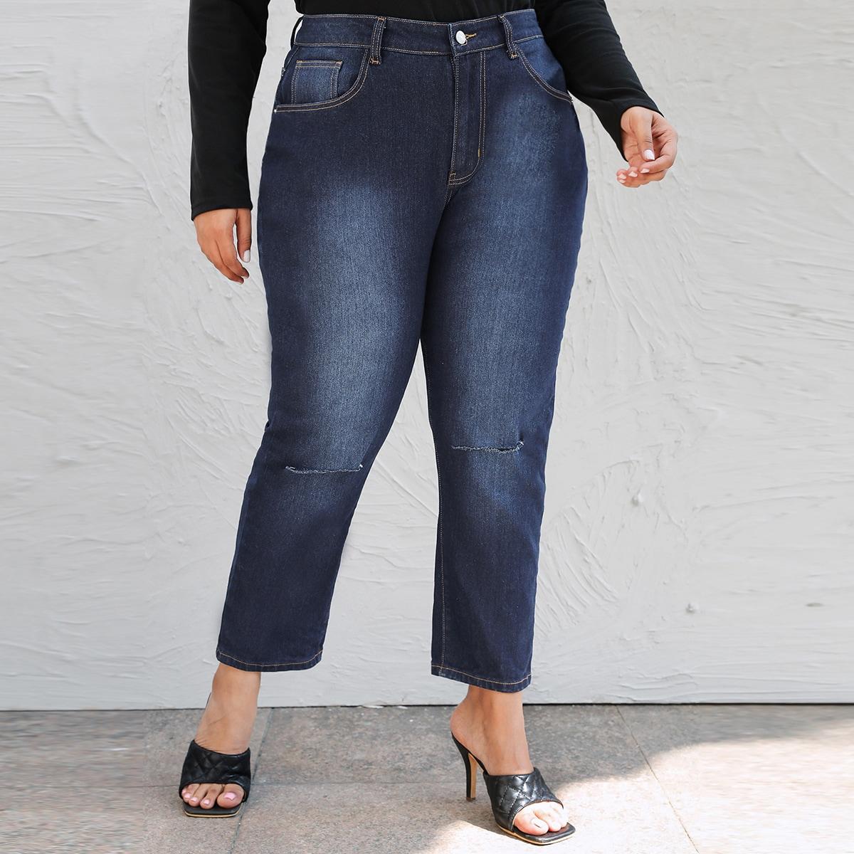 На пуговицах повседневный джинсы размер плюс