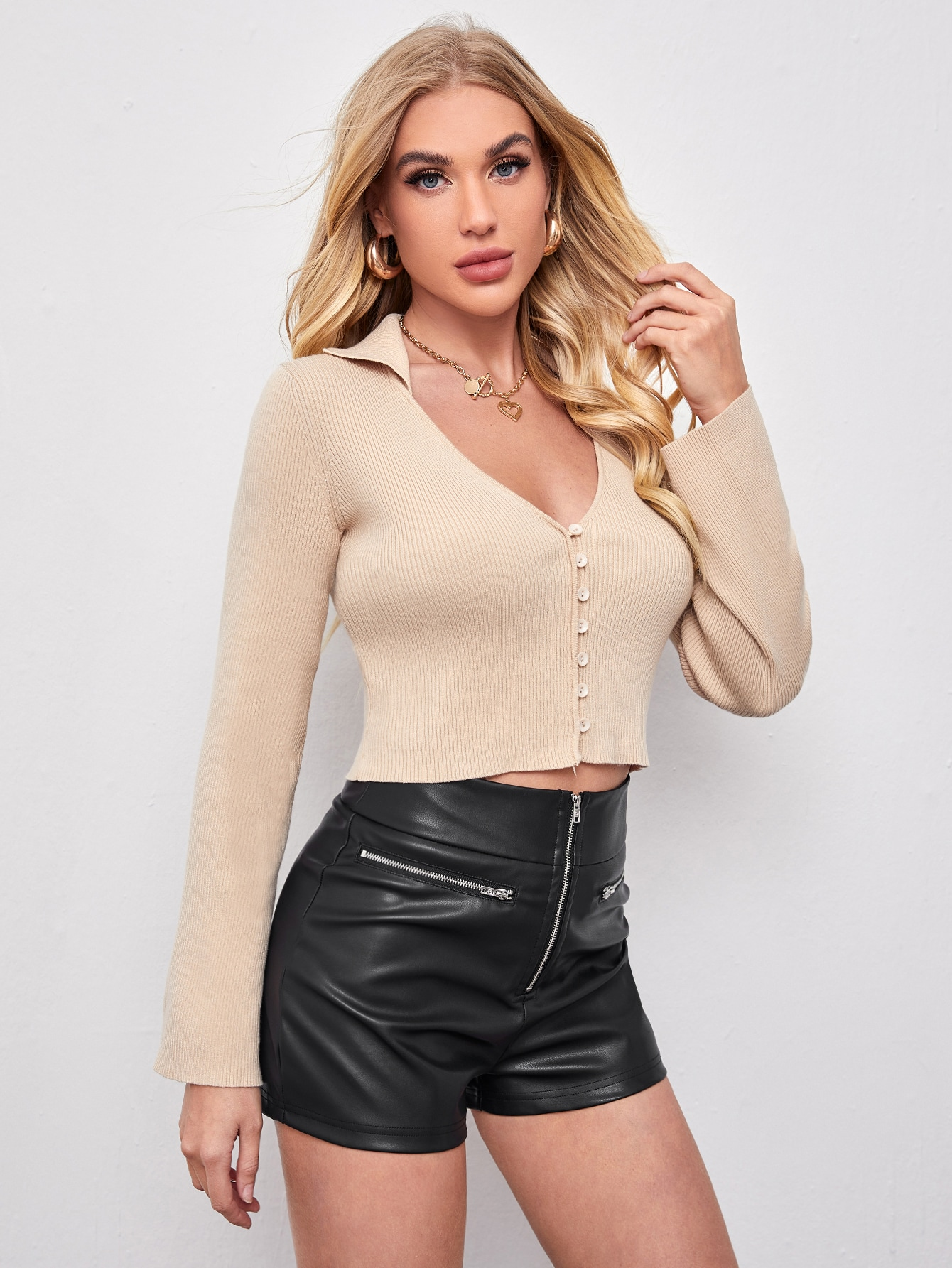 V-neck Collared Button Up Cardigan thumbnail