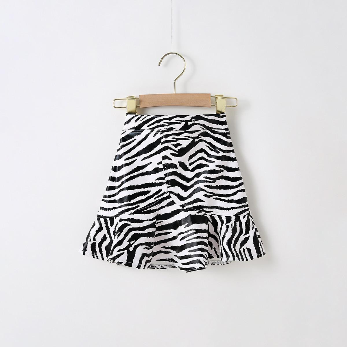 С оборками полосатый повседневный юбки для девочек