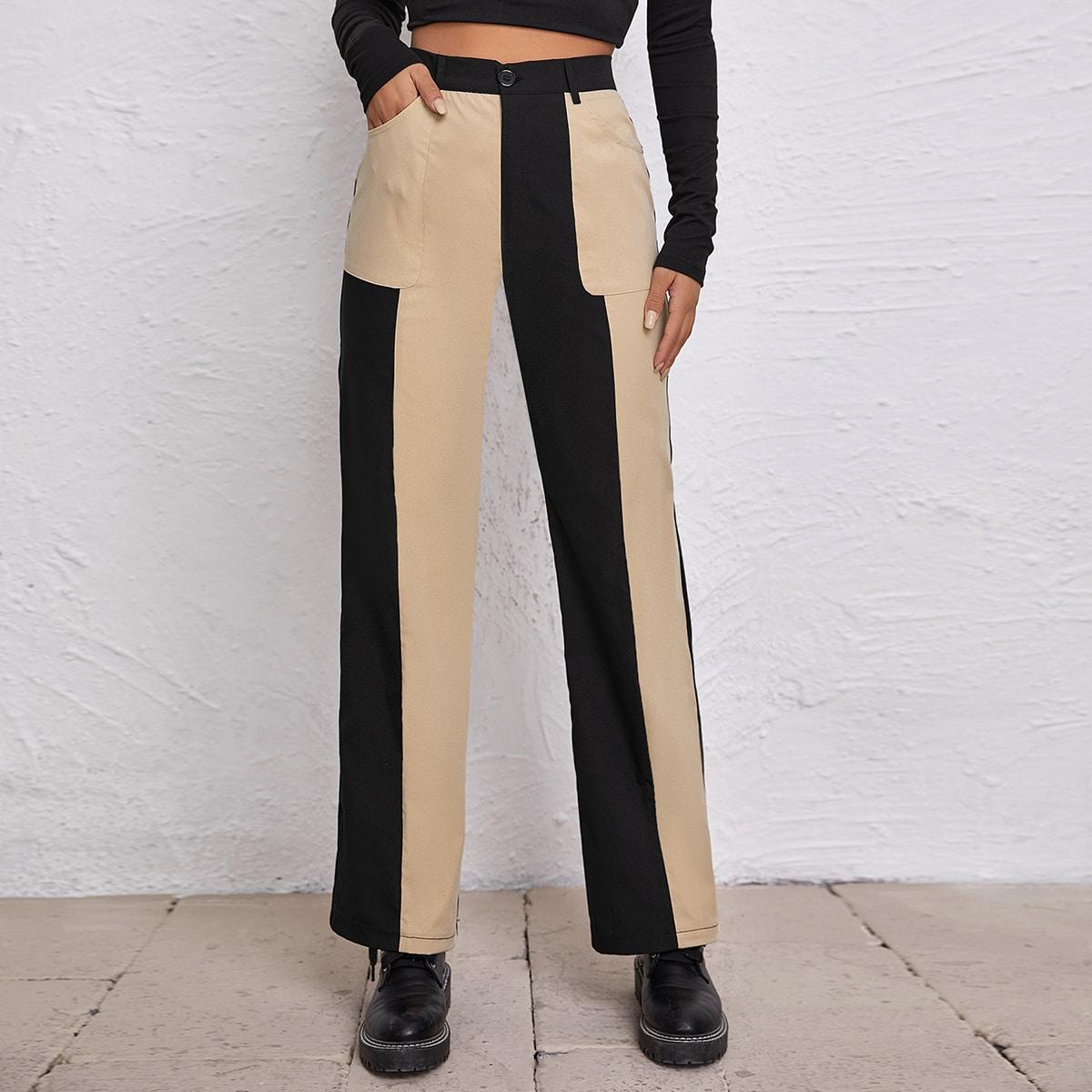 Двухцветные прямые брюки