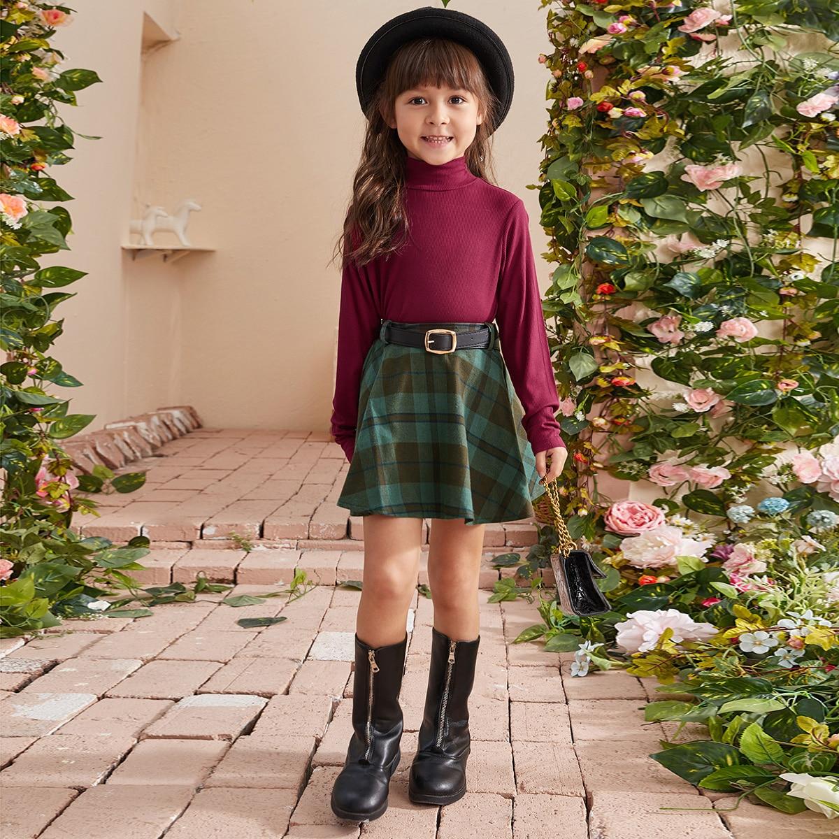 Трикотажный одноцветный повседневный футболки для маленьких девочек