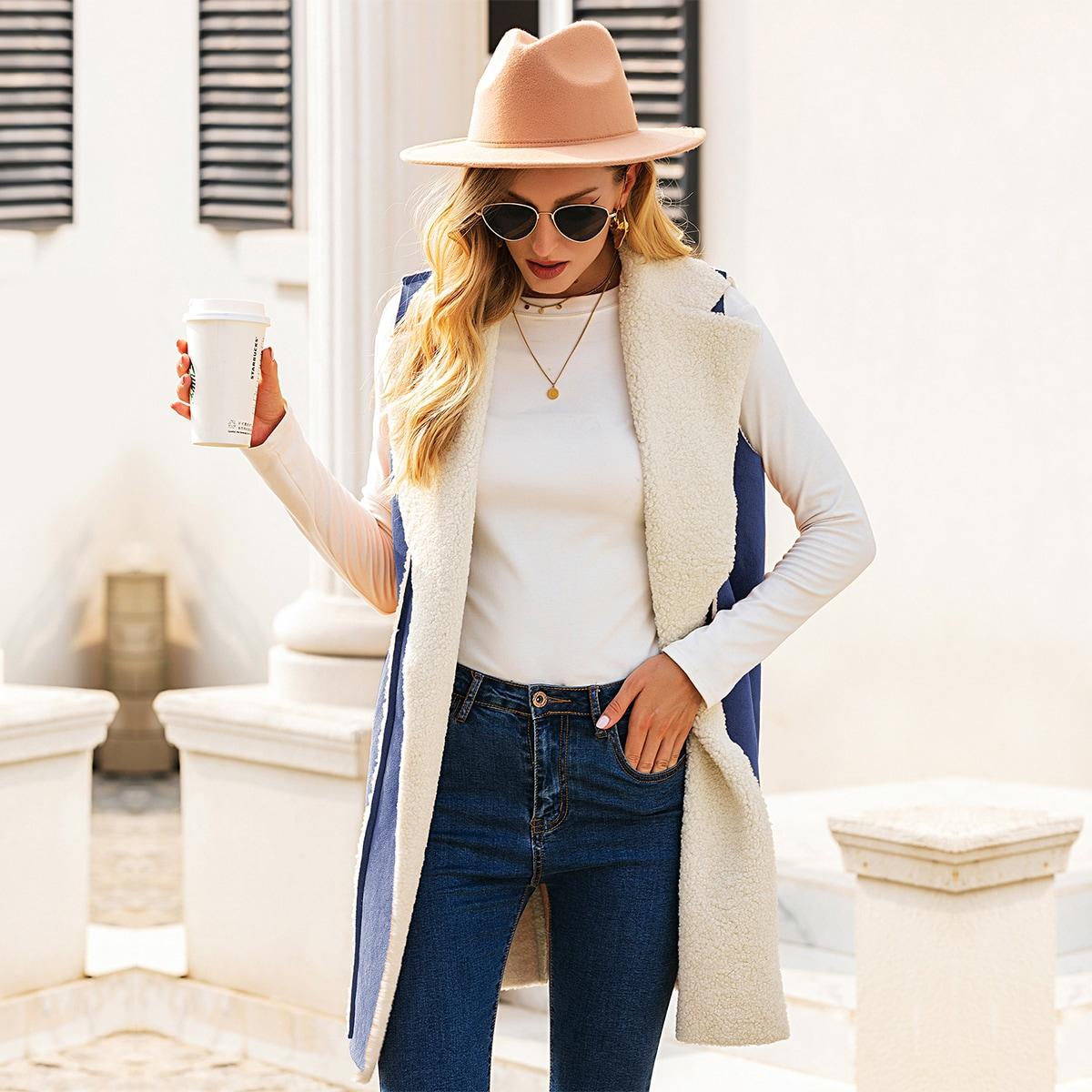 Замшевое пальто-жилет с лацканами и плюшевой подкладкой