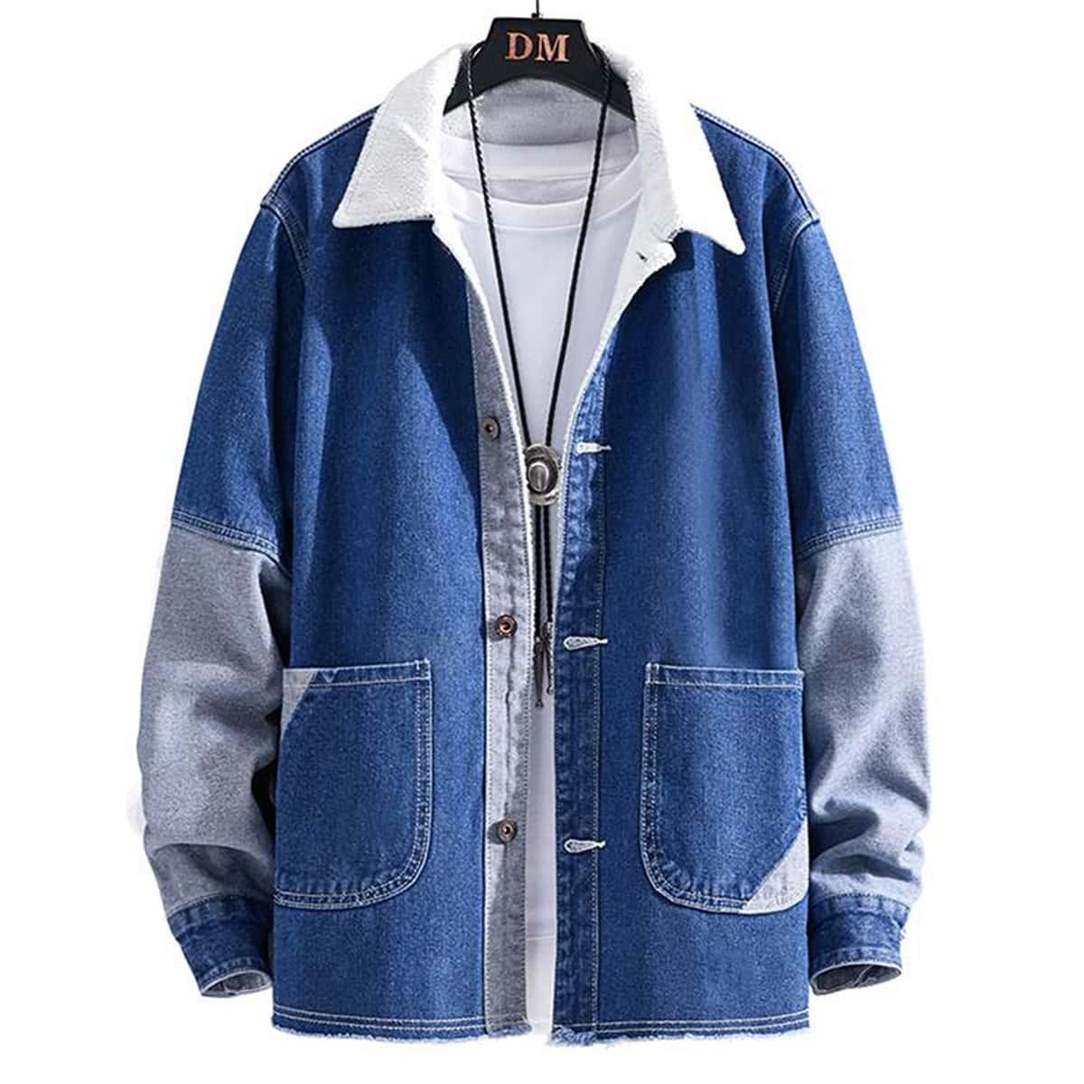 С карманами контрастный цвет мужские джинсовые куртки