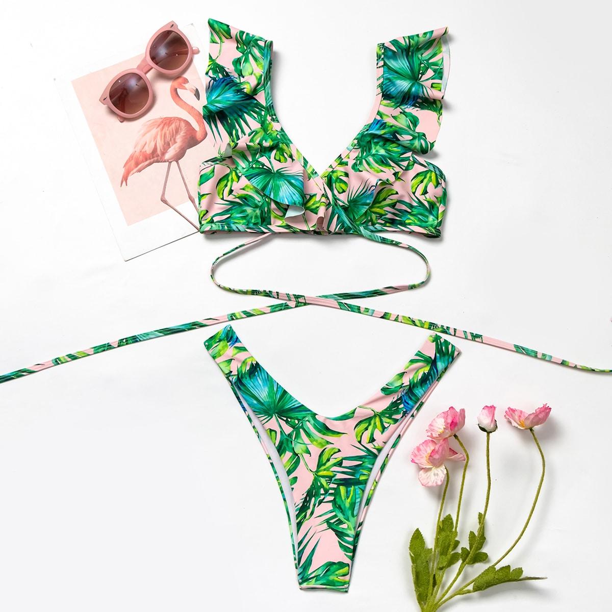 Tropical Ruffle High Leg Bikini Swimsuit