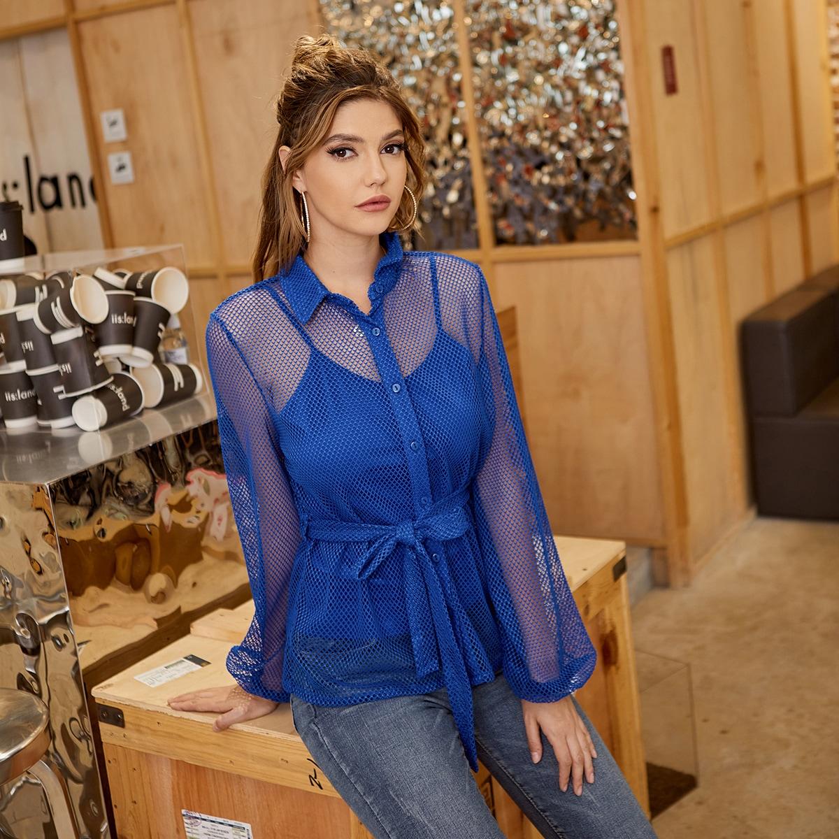 Пояс Одноцветный Повседневный Блузы