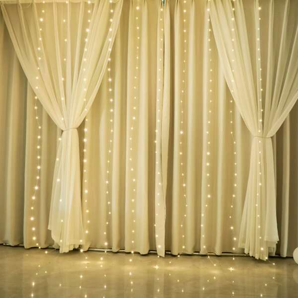 1pc Curtain Decorative String Light With 300pcs Bulb, Yellow