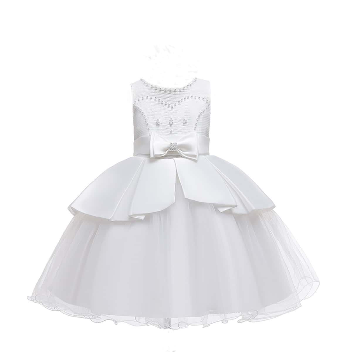 С жемчугом одноцветный очаровательный нарядное платье для маленьких девочек
