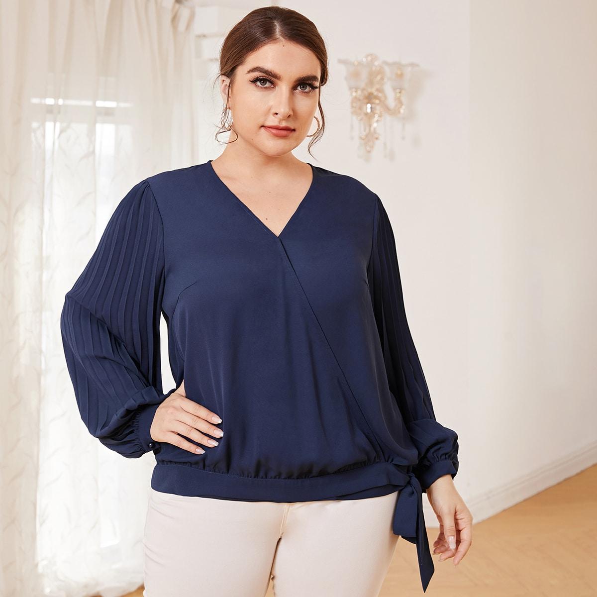 Пуговица Одноцветный Элегантный Блузы размер плюс