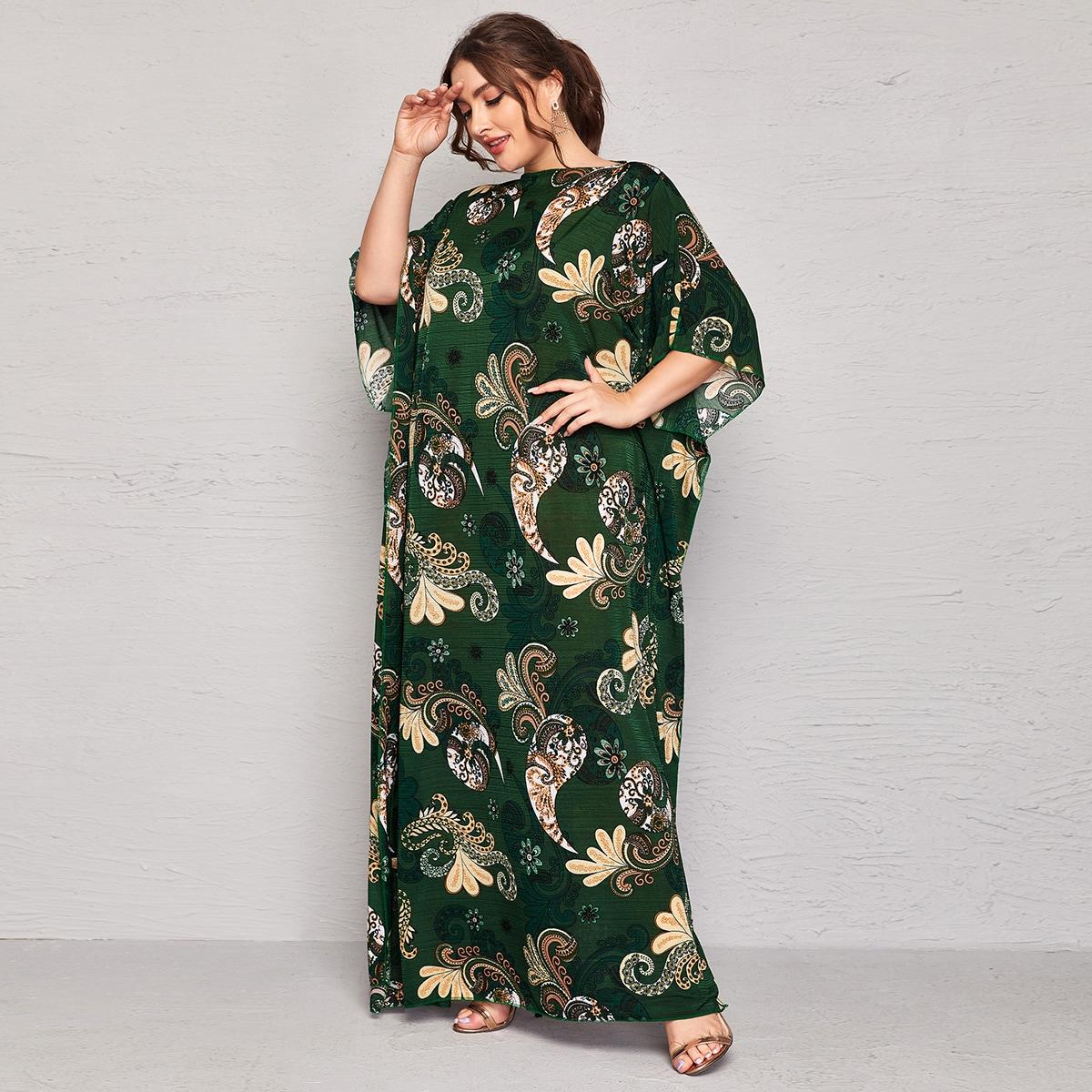 Платье макси размера плюс с принтом