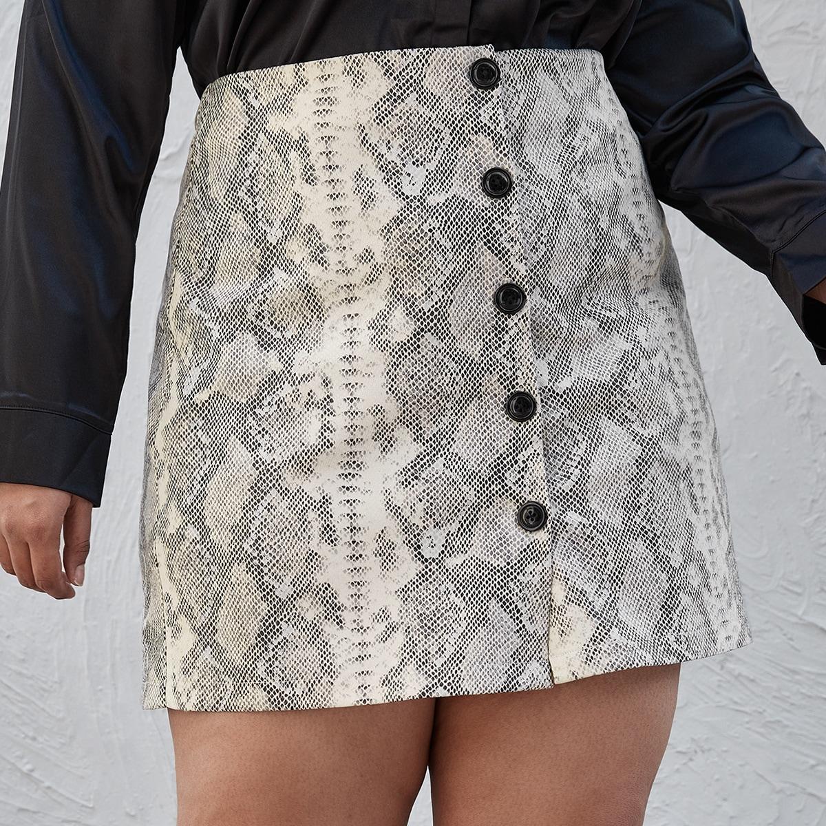 Пуговица змеиный принт элегантный юбки размер плюс