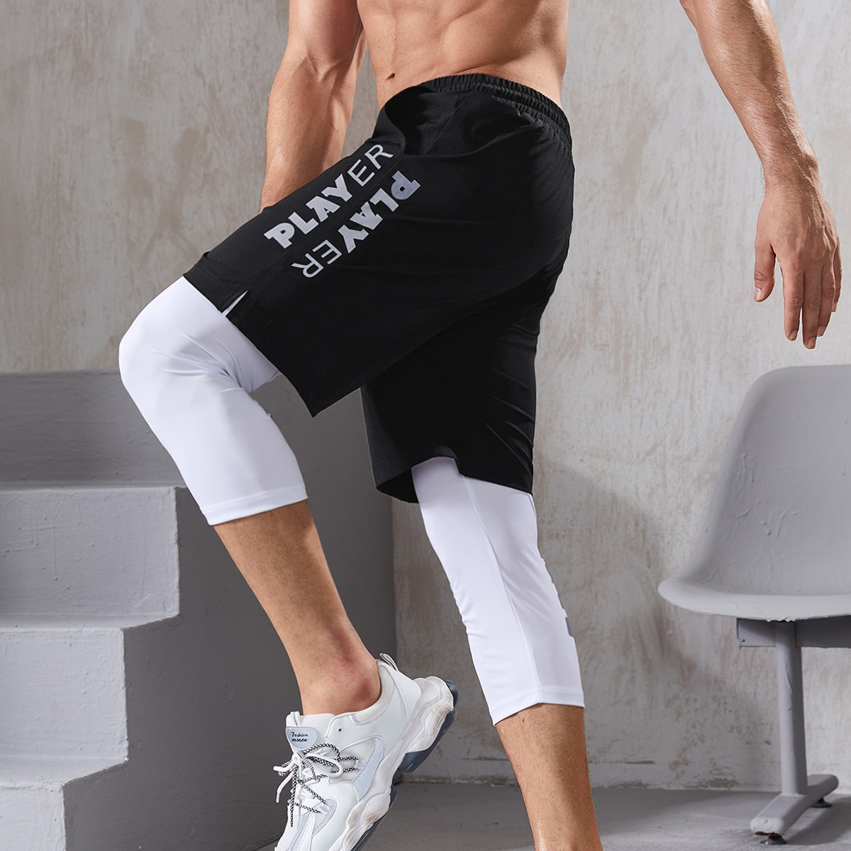 Мужские леггинсы с надписью 2 в 1 для йоги