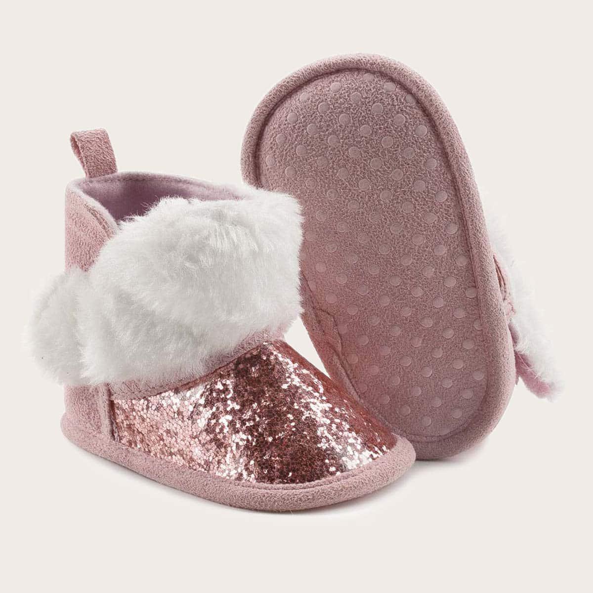 Без молнии контрастный искусственный мех одноцветный ботинки для малышей