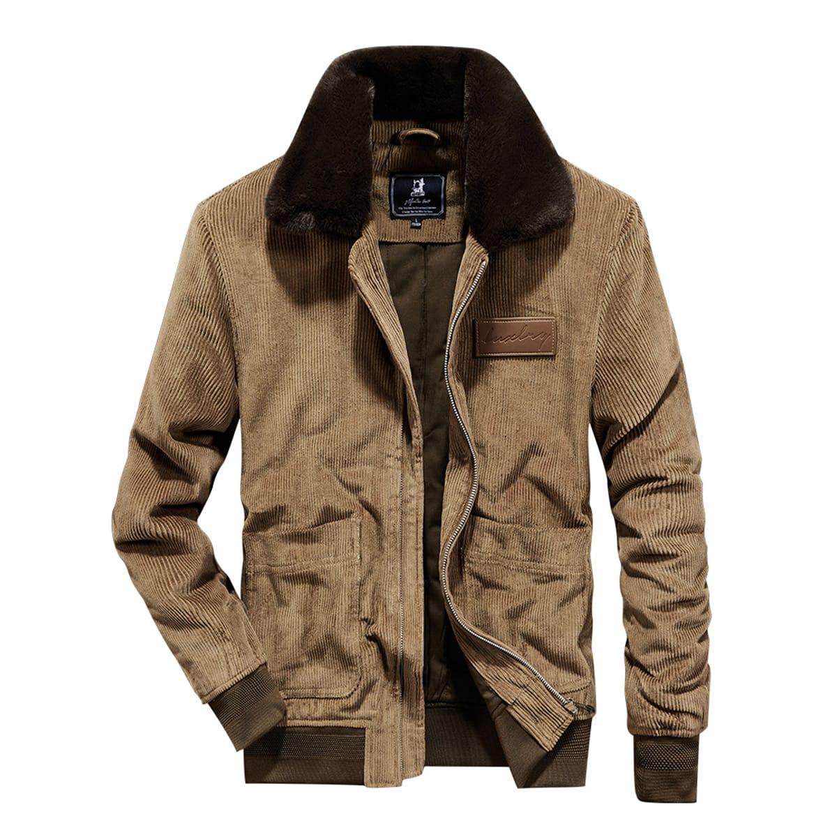Мужская вельветовая куртка с контрастным воротником