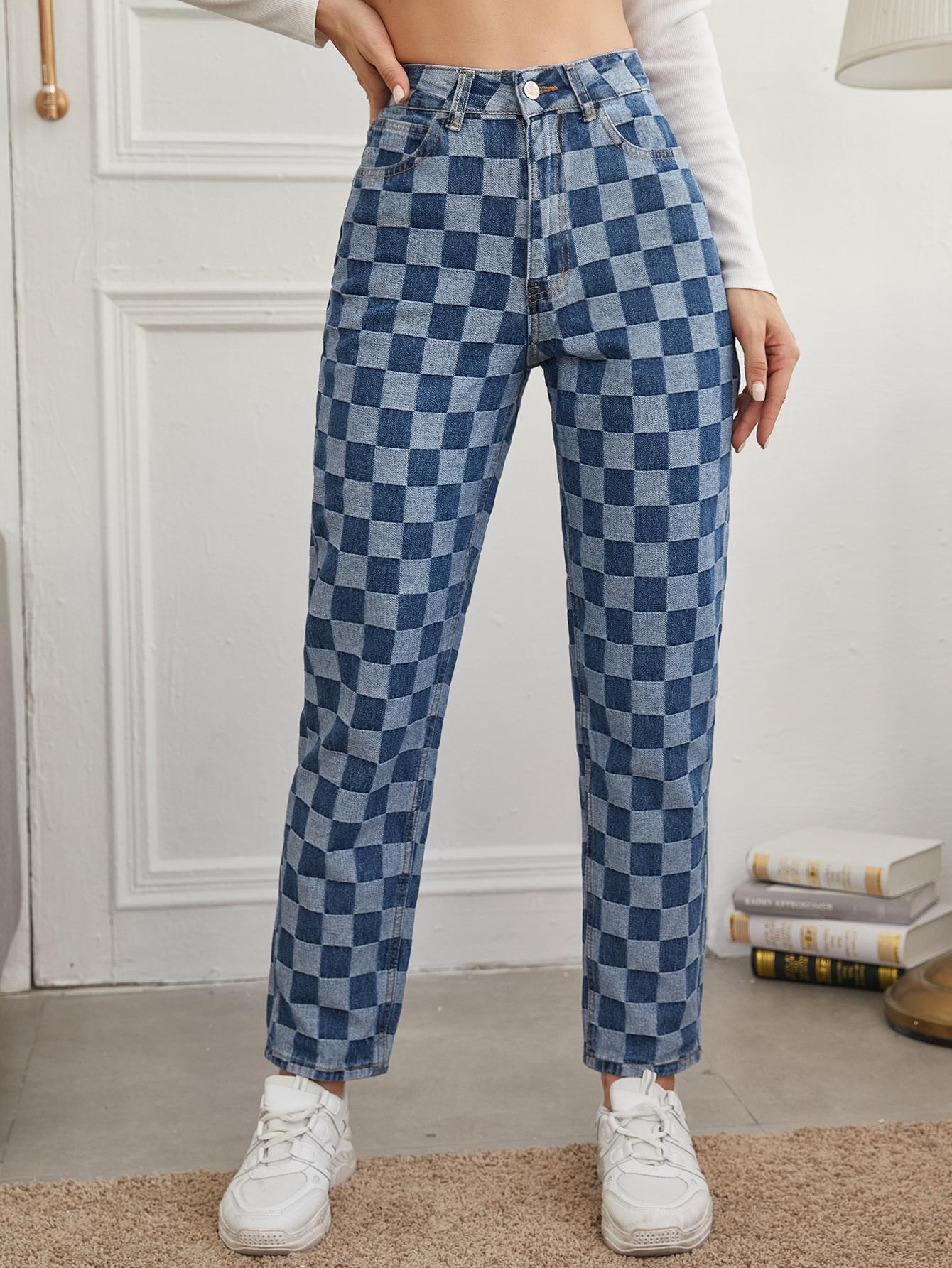 High Waist Checkered Straight Jeans thumbnail