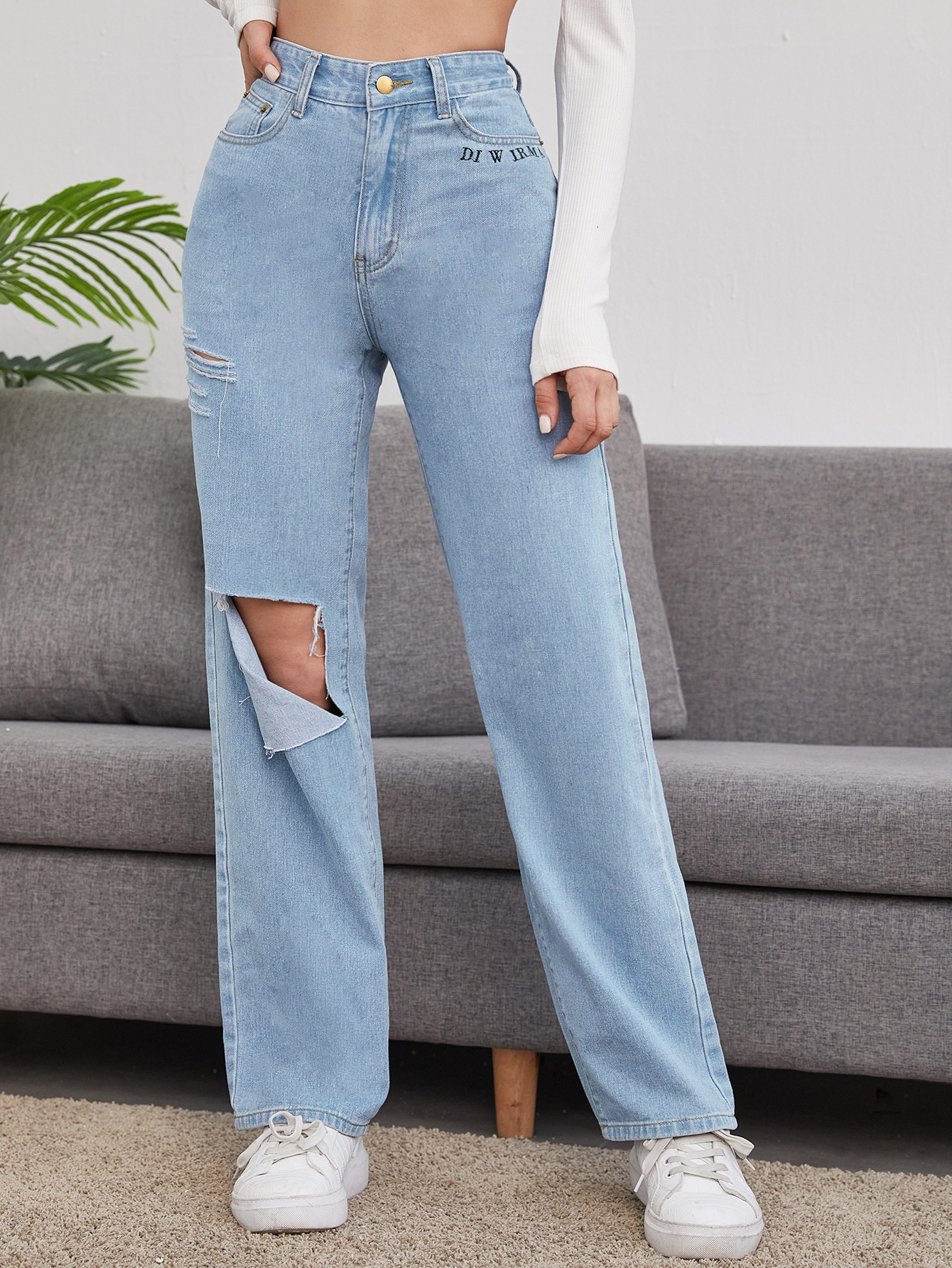 Cut Out Ripped High-rise Jeans thumbnail