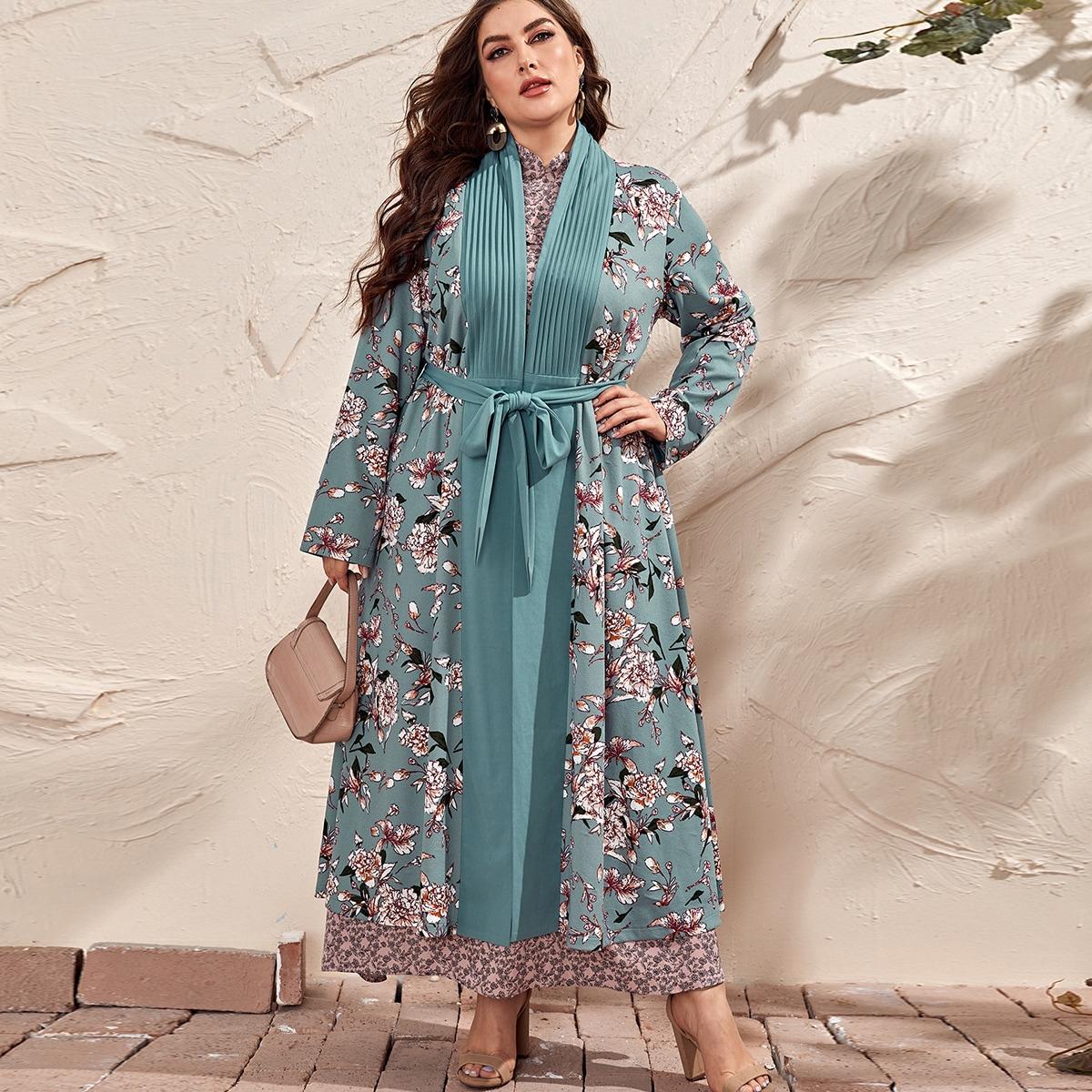 С поясом со цветочками бохо кимоно размер плюс