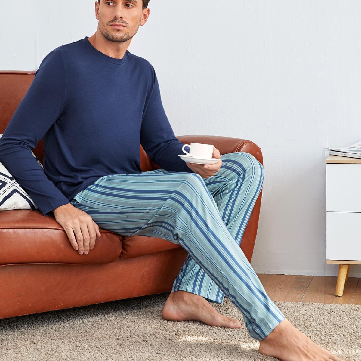 Полосатый повседневный мужская домашняя одежда