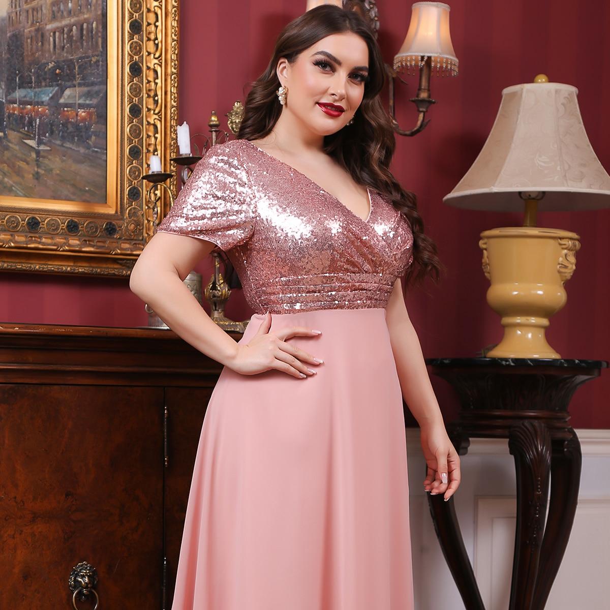 Контрастное блестящее платье размера плюс с v-образным воротником