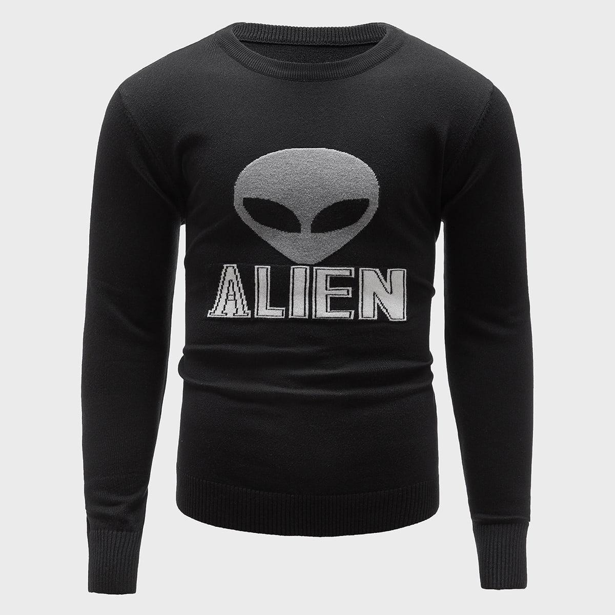 Мужской свитер с буквами и инопланетным узором