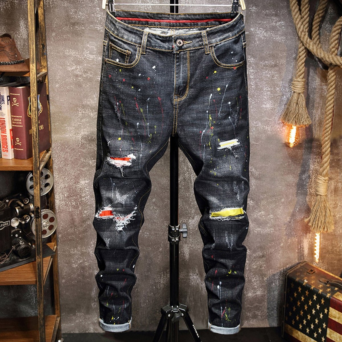 Карман графический принт улица мужские джинсы