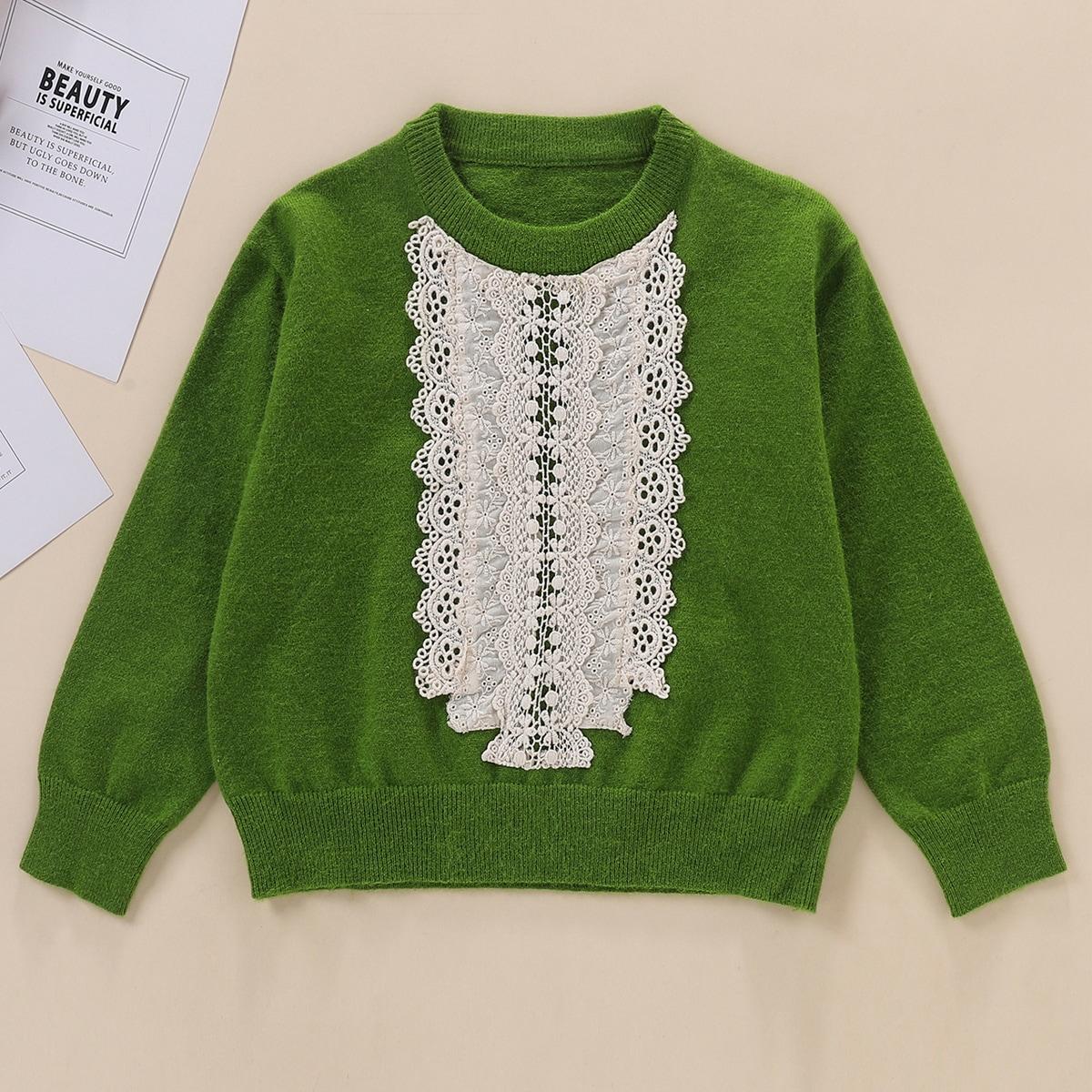 Ажурная вышивка контрастный цвет повседневный свитера для девочек