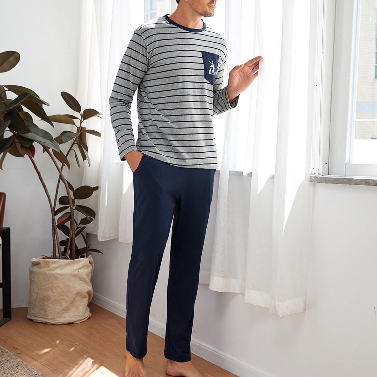 Мужская пижама в полоску с карманом и текстовым принтом