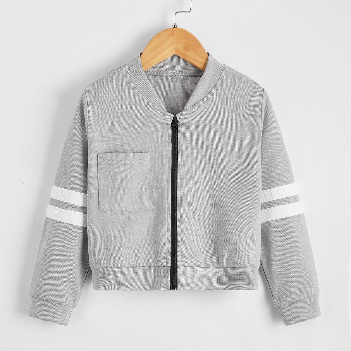 Куртка бомбер с карманом для девочек