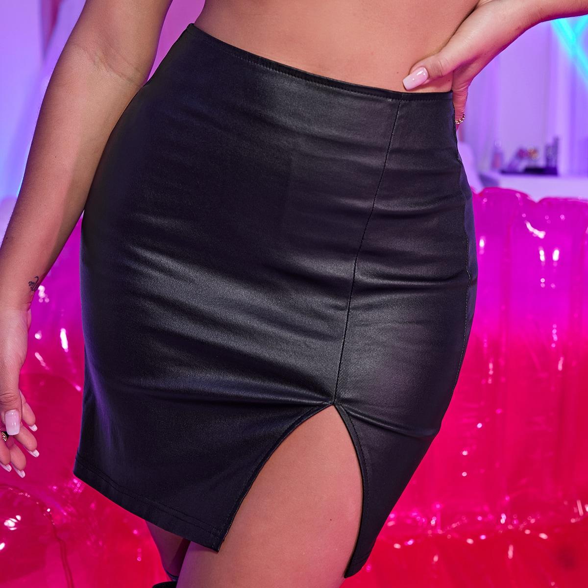 Облегающая джинсовая юбка с разрезом