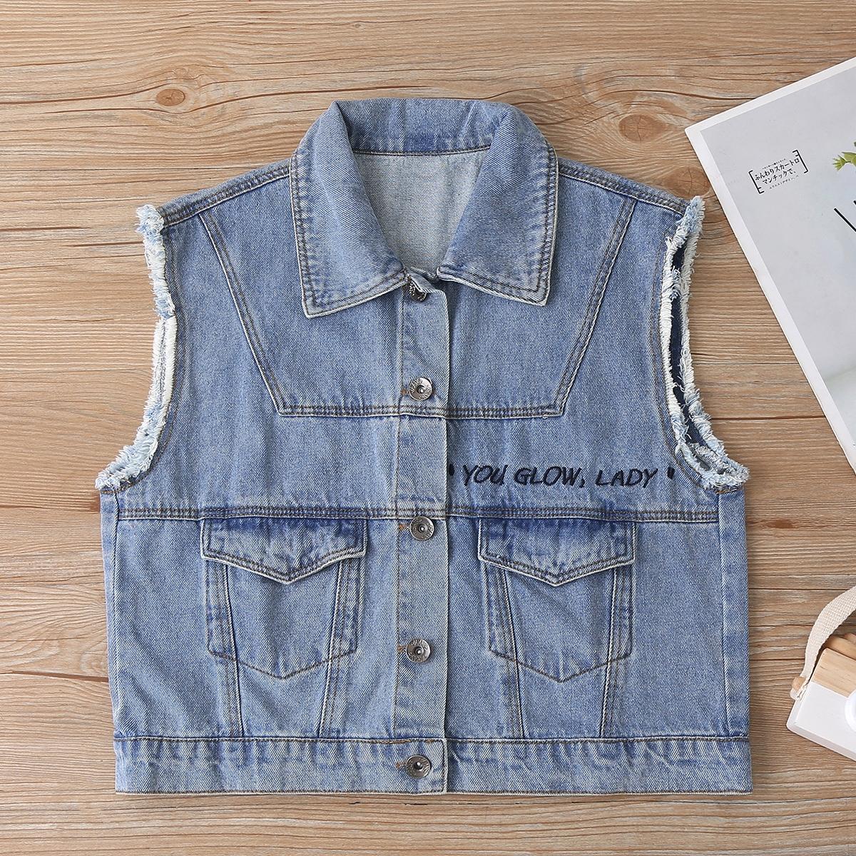 Джинсовая куртка с необработанной отделкой и рисунком для девочек