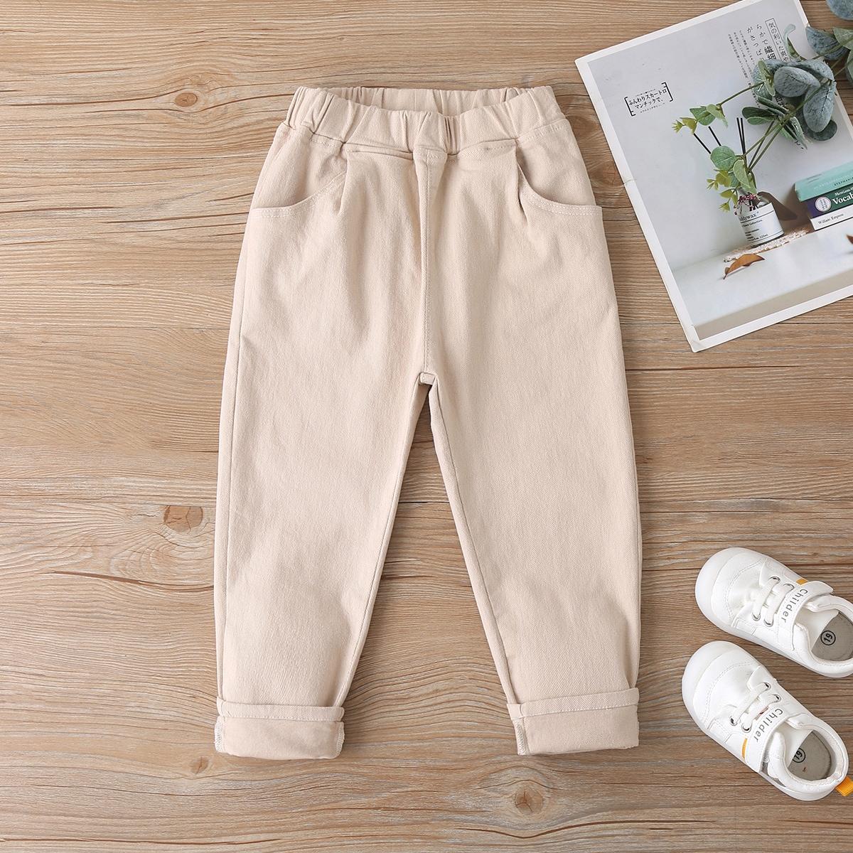 Карман одноцветный повседневный джинсы для девочек