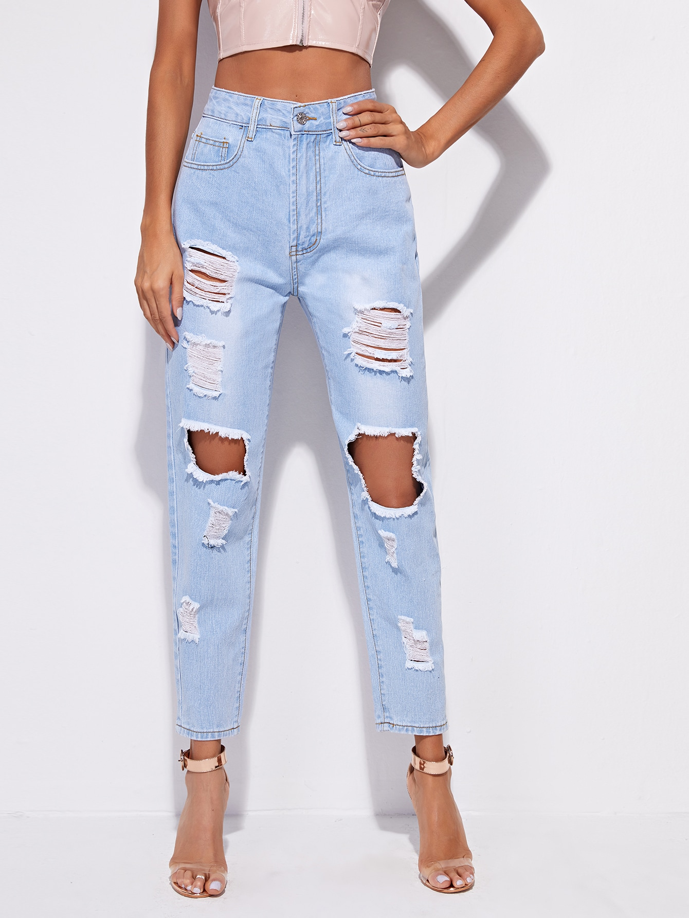 High-Waisted Distressed Straight Jeans thumbnail