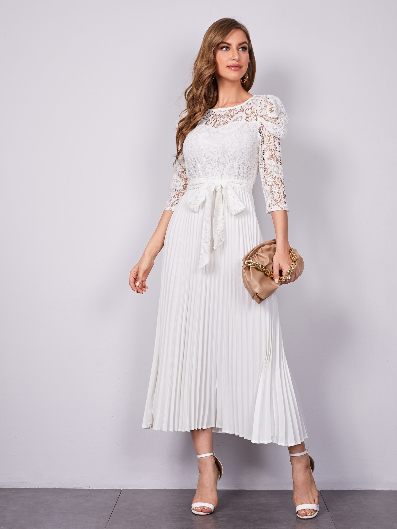Gigot Sleeve Lace Bodice Belted Pleated Hem Dress thumbnail