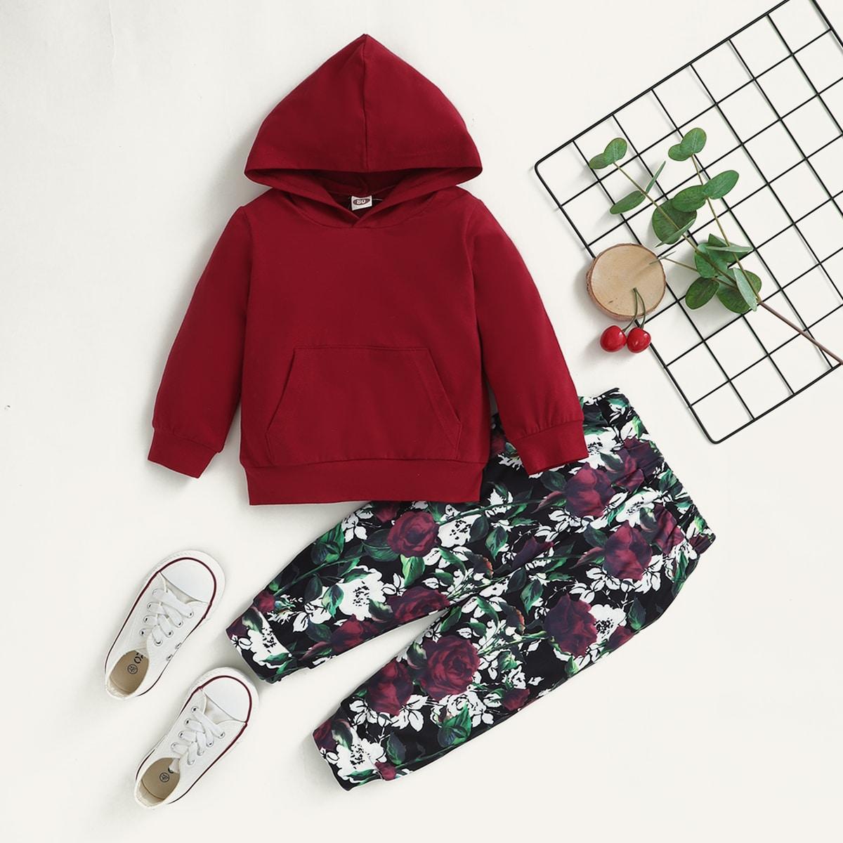 Толстовка с карманом и спортивные брюки с цветочным принтом для девочек