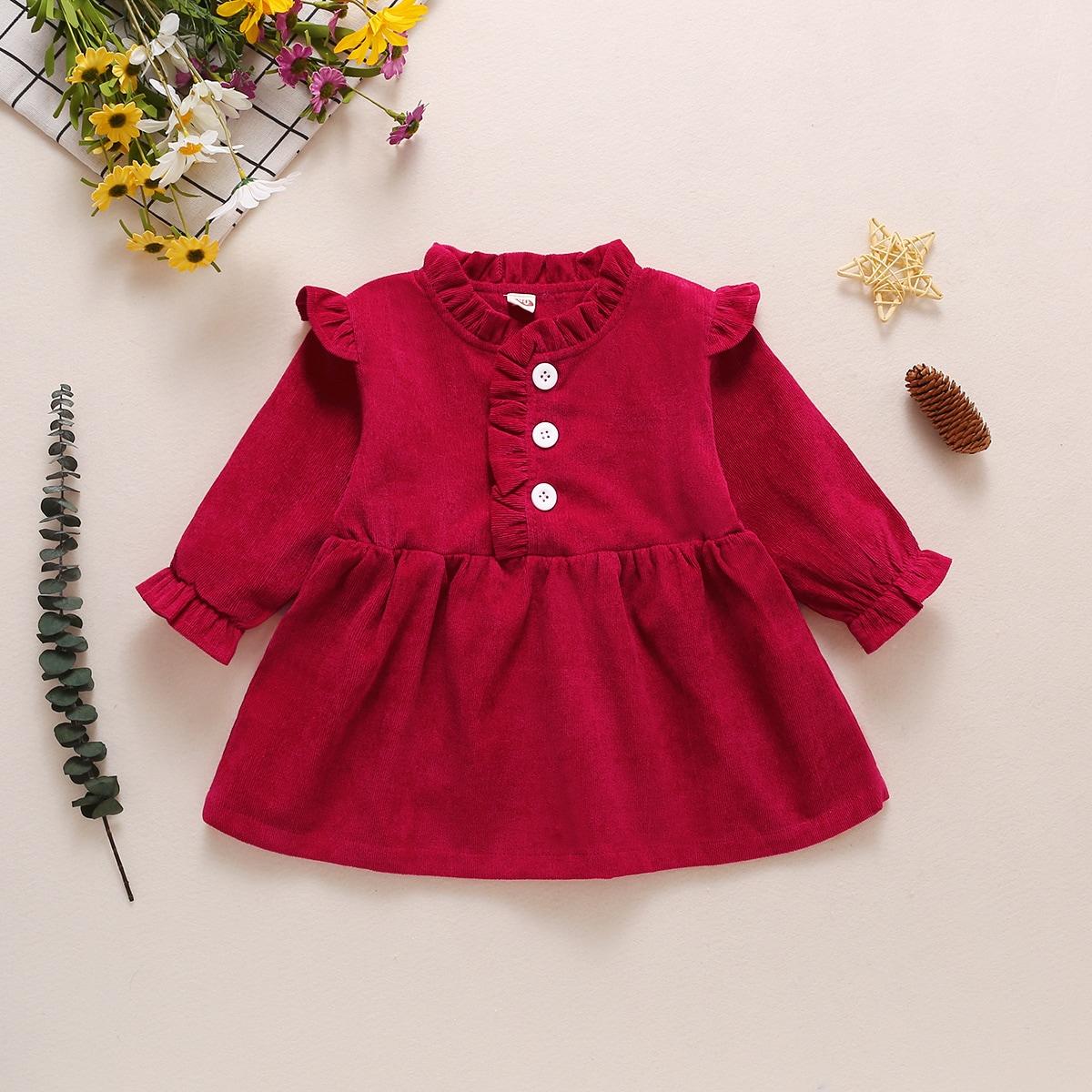 на пуговицах Одноцветный Повседневный Платья для малышей от SHEIN