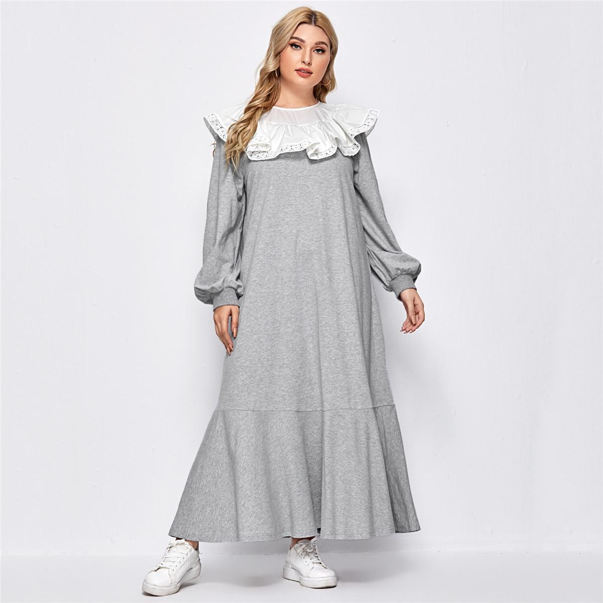 Платье размера плюс с рукавами фонариками