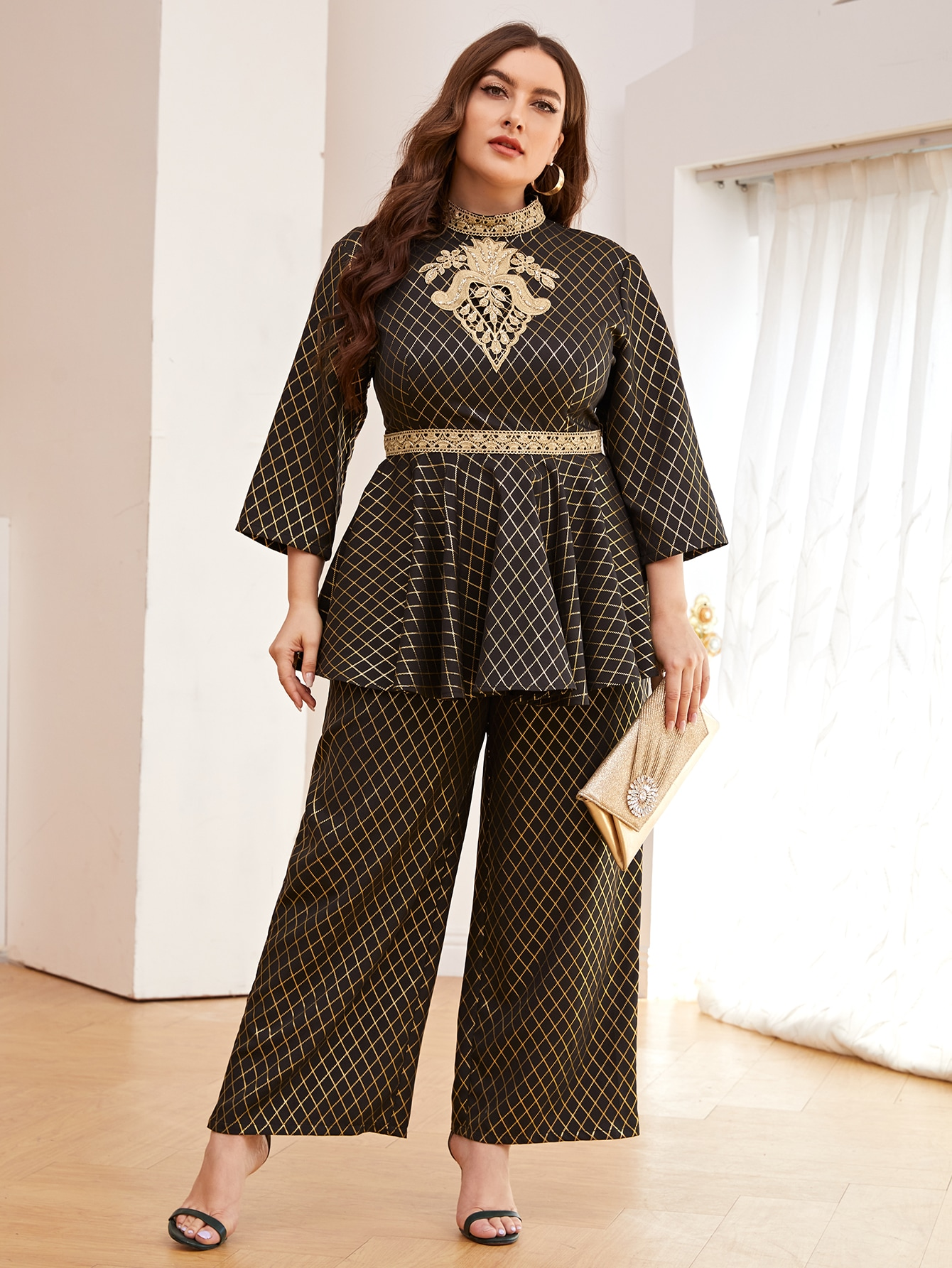Plus Plaid Embroidery Detail Ruffle Hem Top & Wide Leg Pants Set thumbnail