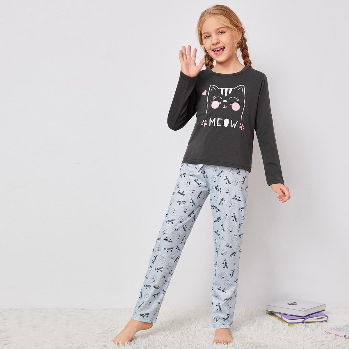 Пижама с текстовым и мультипликационным принтом для девочек