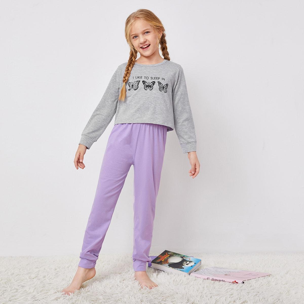 Пижама с принтом бабочки для девочек