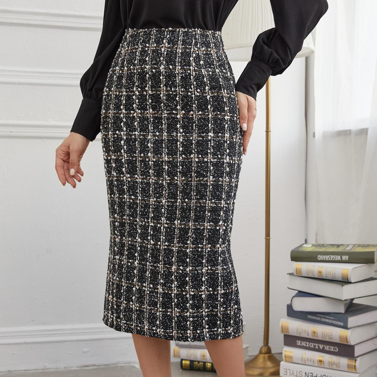Твидовая юбка в клетку с разрезом сзади