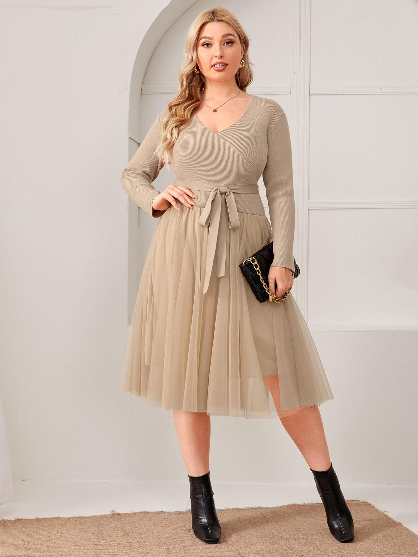 Plus Surplice Neck Self Belted Mesh Overlay Sweater Dress thumbnail