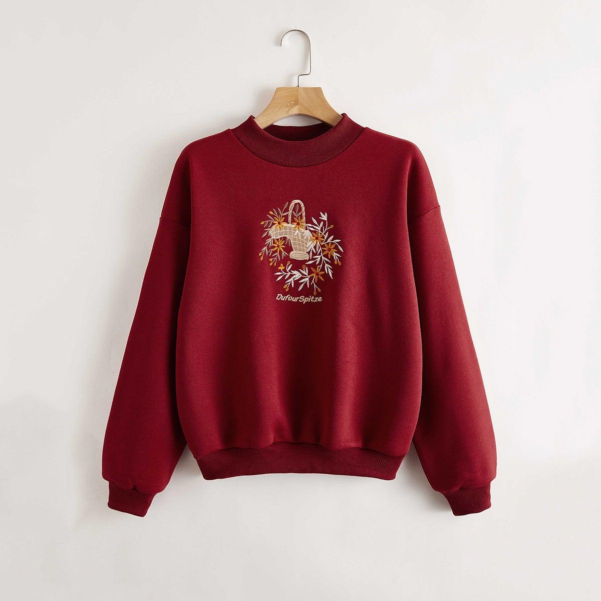 Пуловер с текстовой и цветочной вышивкой