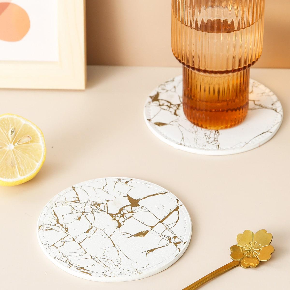 1pc Marble Pattern Round Coaster