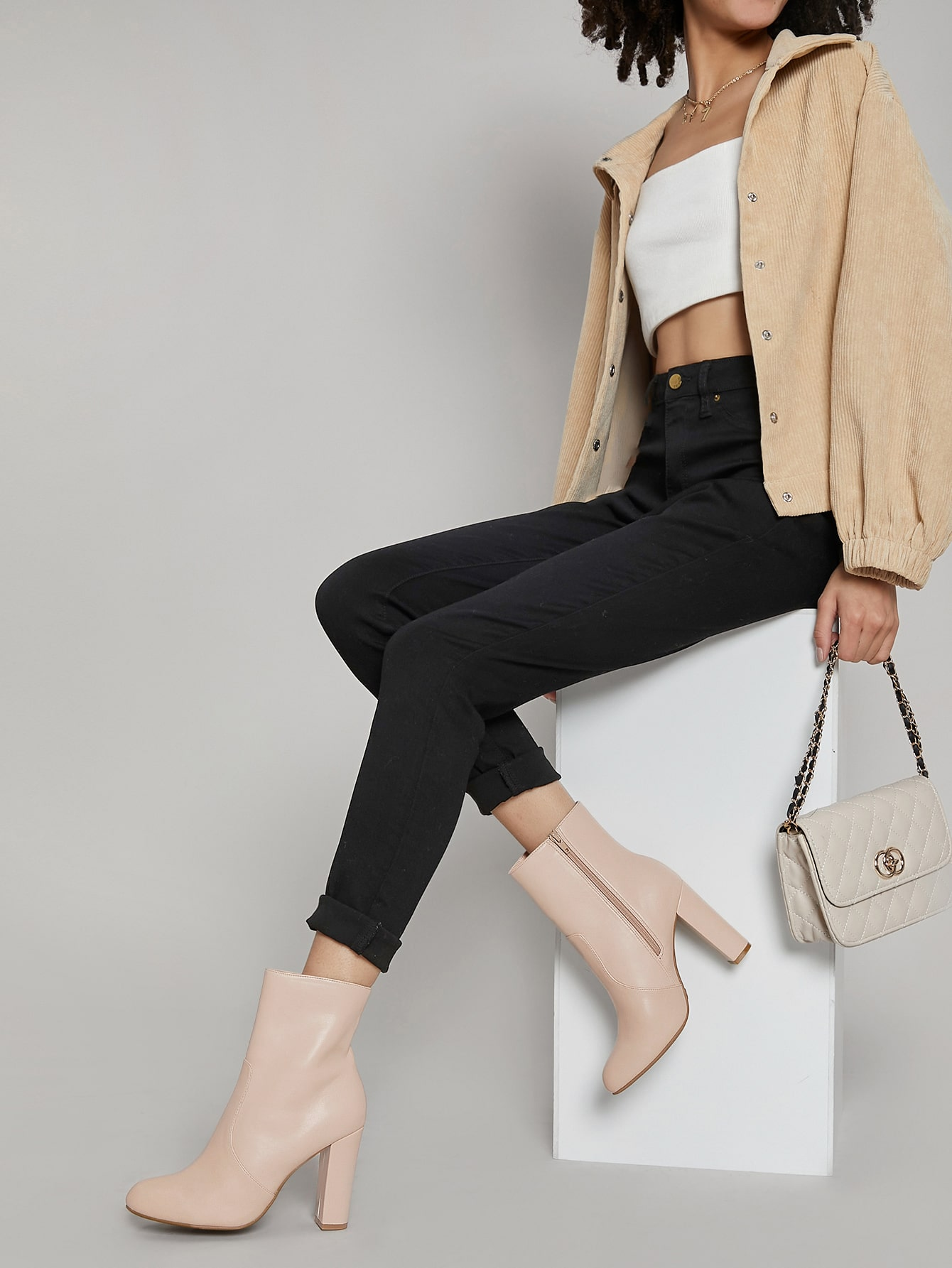 Faux Leather High Block Heel Ankle Boots
