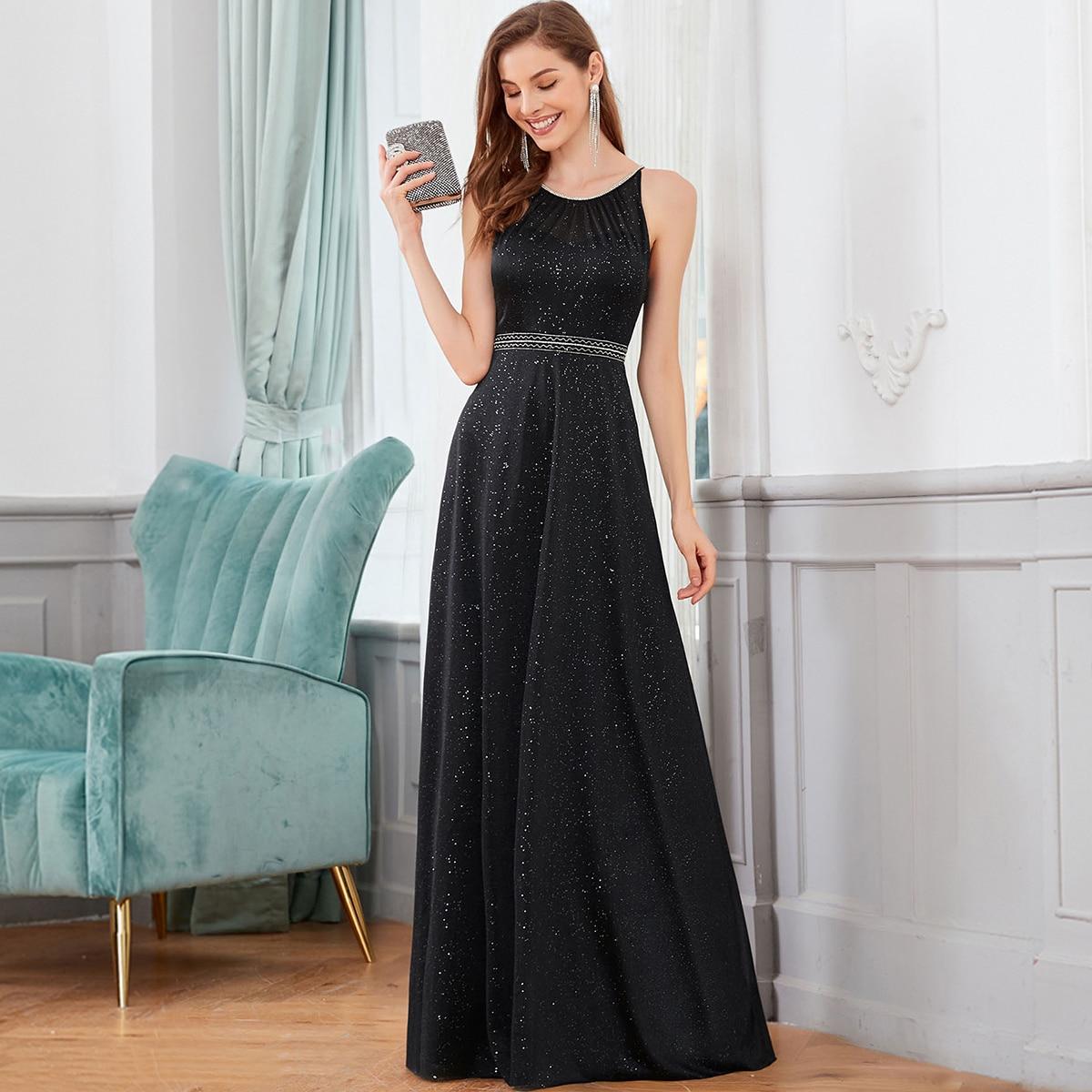 Rhinestone Detail Glitter Cami Prom Dress