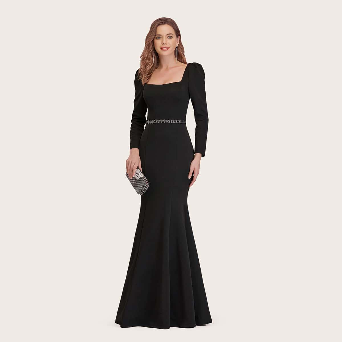 Платье-русалка с оригинальным рукавом