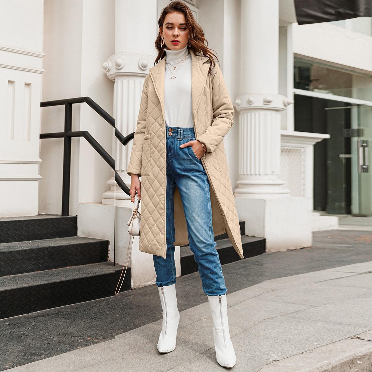 С карманами одноцветный повседневный пальто