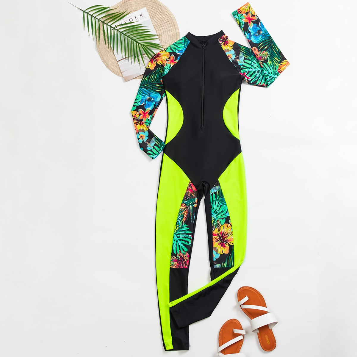 Tropical & Floral Zip-up Surfing Swimsuit
