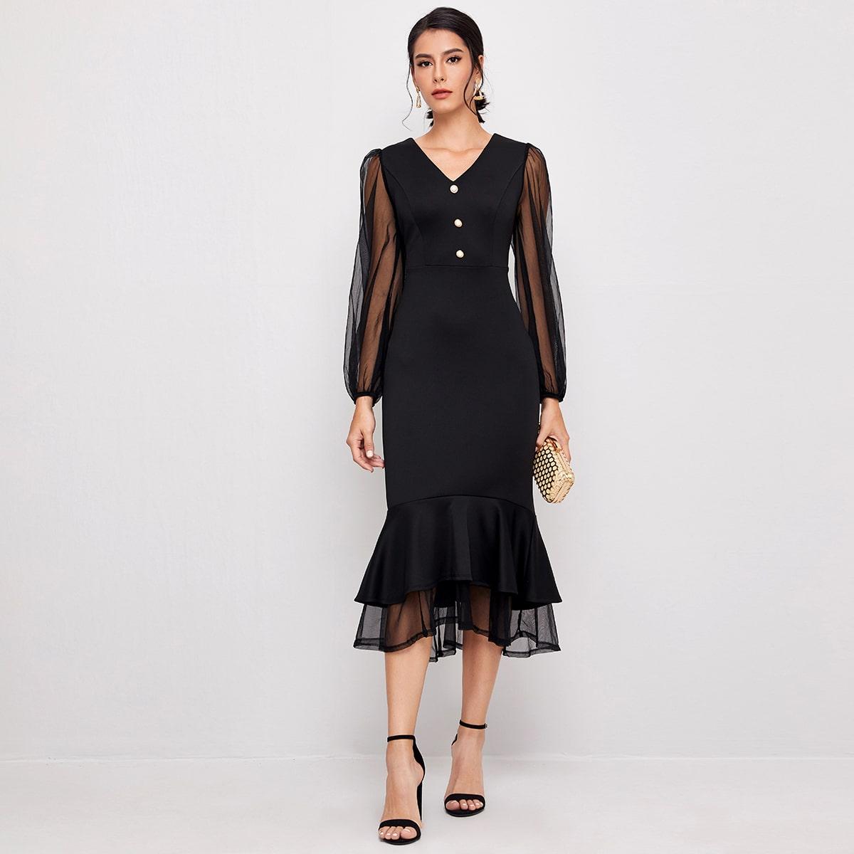 Платье-русалка с сетчатым пышным рукавом