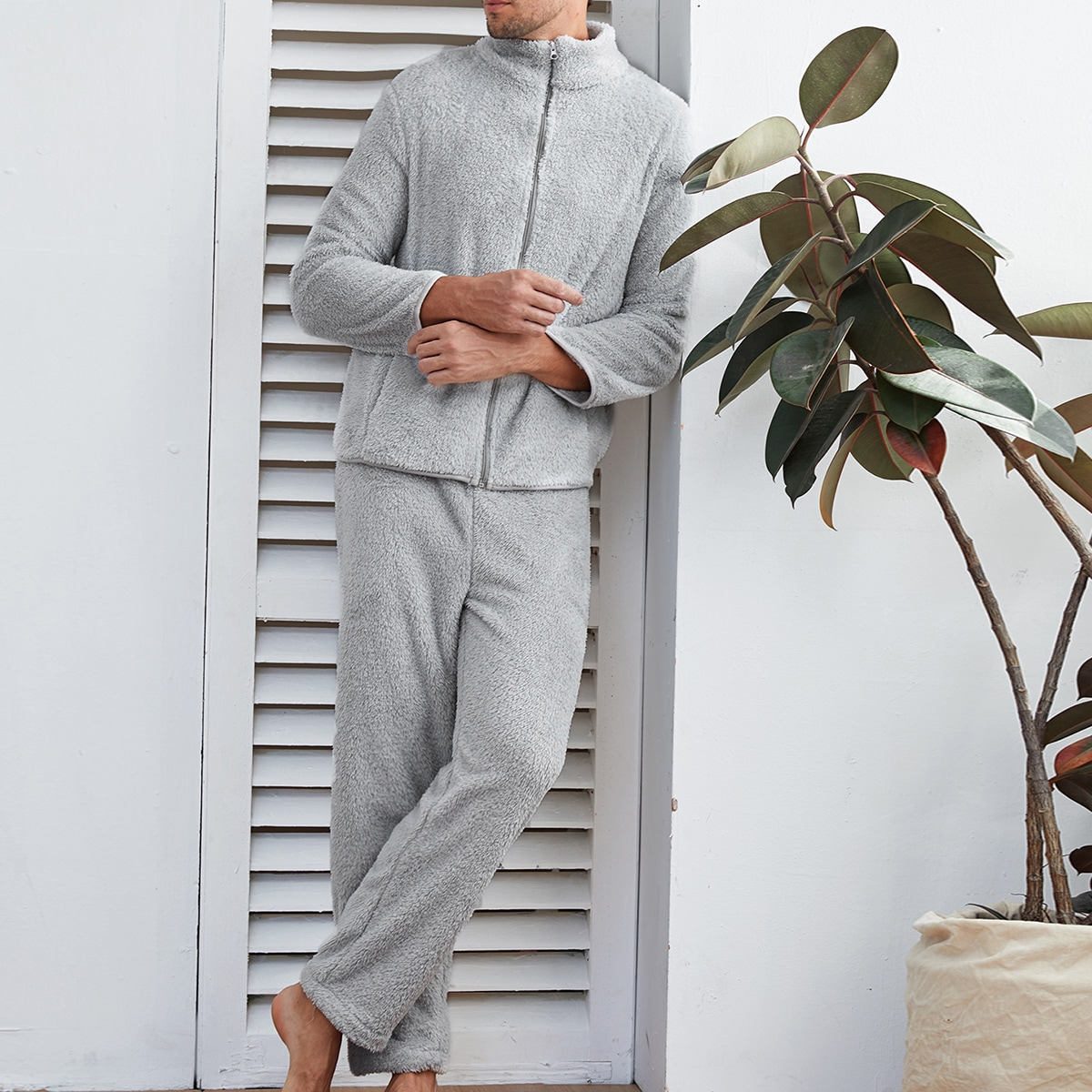 Мужская плюшевая пижама с молнией