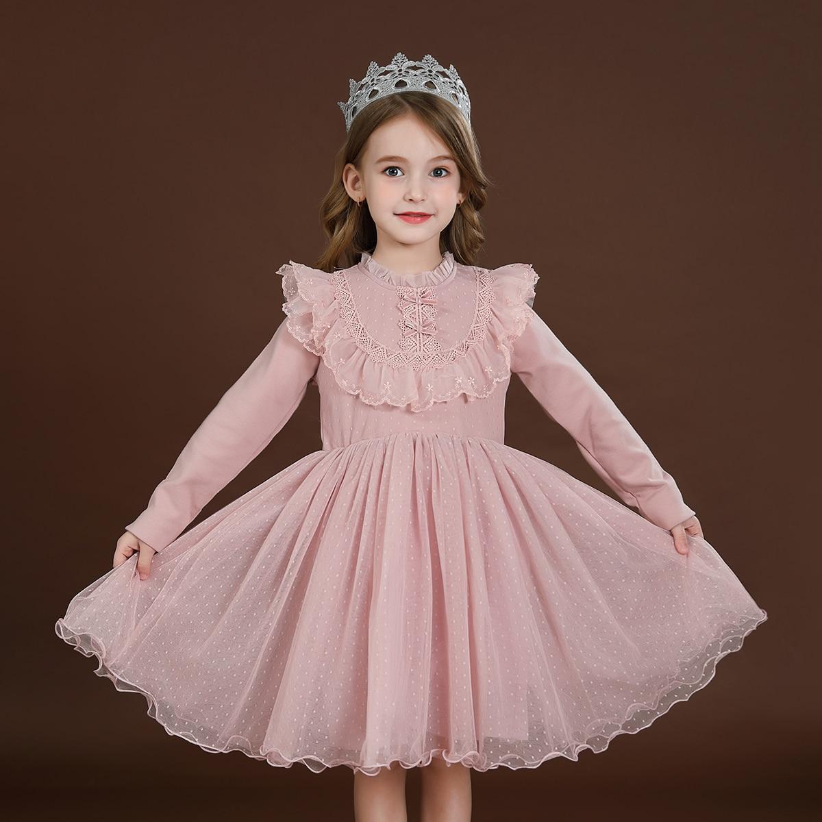 С оборками одноцветный очаровательный нарядное платье для маленьких девочек